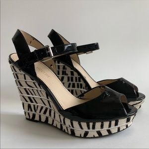 Enzo Angiolini Patent Leather & Calf Hair Wedge